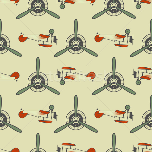 Vintage airplane pattern. With Old Biplanes, propeller elements and symbols. Aircraft seamless backg Stock photo © JeksonGraphics