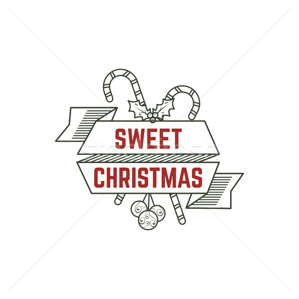 Sweet Christmas typography sign with candies, toys and ribbons. Vector illustration of  calligraphy  Stock photo © JeksonGraphics