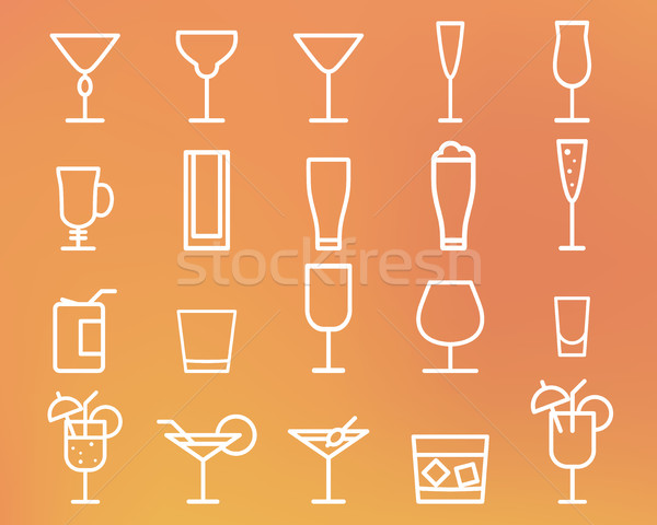 Beverage, drinks vector thin line symbol icon. Cocktails. Party outline elements isolated on sunny s Stock photo © JeksonGraphics