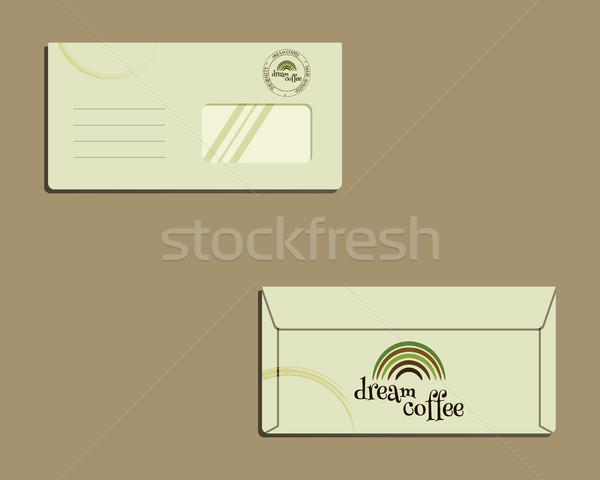Brand identity template. Envelope. Front and back sides. With Green coffee logo design. Best for caf Stock photo © JeksonGraphics