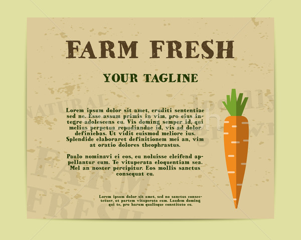 Stylish Farm Fresh poster, template or brochure design with carrot. Mock up design with shadow. Best Stock photo © JeksonGraphics