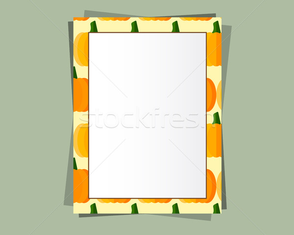 A4 Format paper design vector with text, picture frame and shadow. Organic and eco design. Pumpkin.  Stock photo © JeksonGraphics