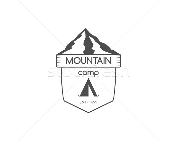 Vintage mountain trekking, climbing hiking camping badge, outdoor logo, emblem and label concept for Stock photo © JeksonGraphics