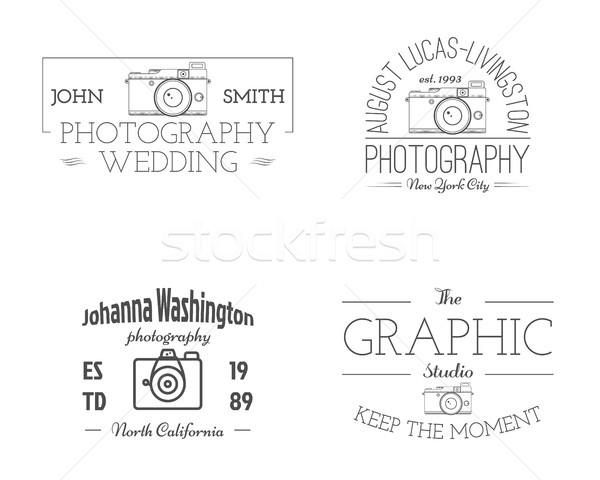 Vintage fotografii studio odznaki monochromatyczny Zdjęcia stock © JeksonGraphics