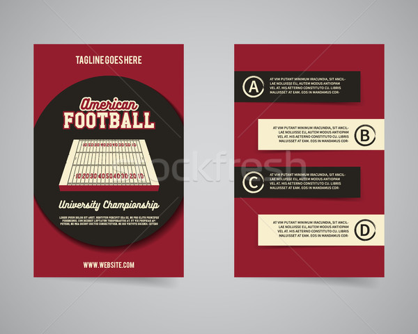 American football championship back and front flyer template design. Usa Sport brand identity letter Stock photo © JeksonGraphics