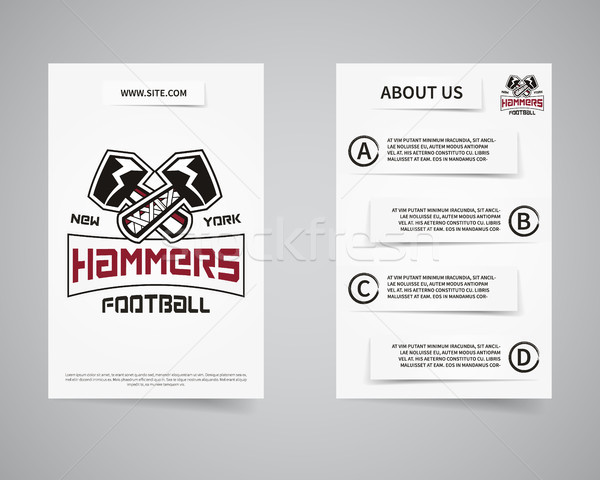 American football team presentation flyer template design. Usa Sport brand identity letterhead. Post Stock photo © JeksonGraphics