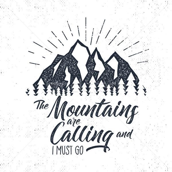 Hand drawn advventure label. Mountains calling illustration. Typography design with sun bursts. Roug Stock photo © JeksonGraphics