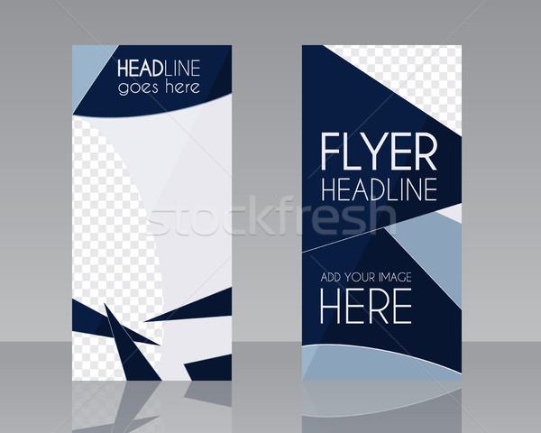 Vector Brochure Flyer design Layout template. Blue dark colors. Triangle abstract style. Isolated on Stock photo © JeksonGraphics