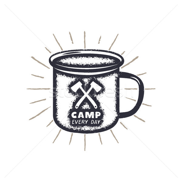 Hand drawn camping mug shape, sunbursts label with motivational quote - Camp every day. Outdoor acti Stock photo © JeksonGraphics