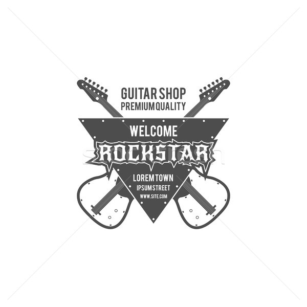 Guitare magasin vecteur étiquette badge Photo stock © JeksonGraphics