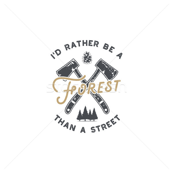 Vintage hand drawn lumberjack badge and emblem. Hiking label. Outdoor inspirational logo. Typography Stock photo © JeksonGraphics