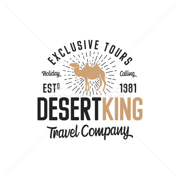 Camel logo template concept. Travel company logotype. Desert king text quote. Exclusive tours vacati Stock photo © JeksonGraphics