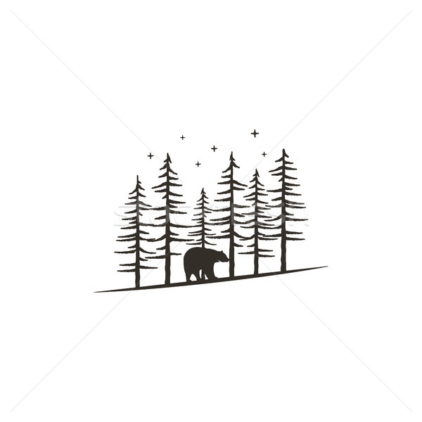 Vintage hand drawn forest concept with bear. Black monochrome design for prints, t shirts, travel mu Stock photo © JeksonGraphics