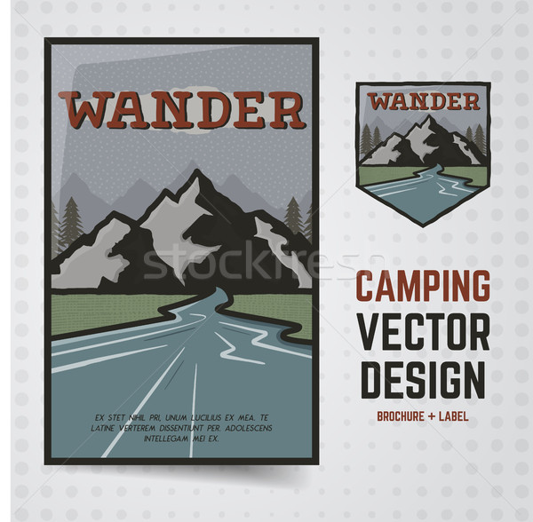 Camping aventura vetor viajar folheto etiqueta Foto stock © JeksonGraphics