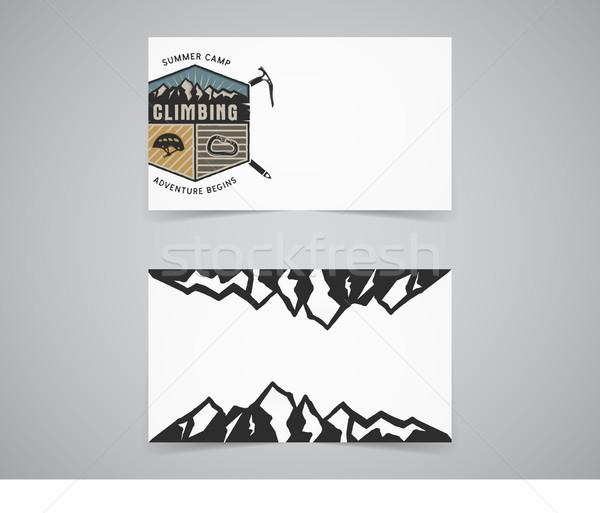 Temizlemek kartvizit şablon dağ macera tırmanma Stok fotoğraf © JeksonGraphics