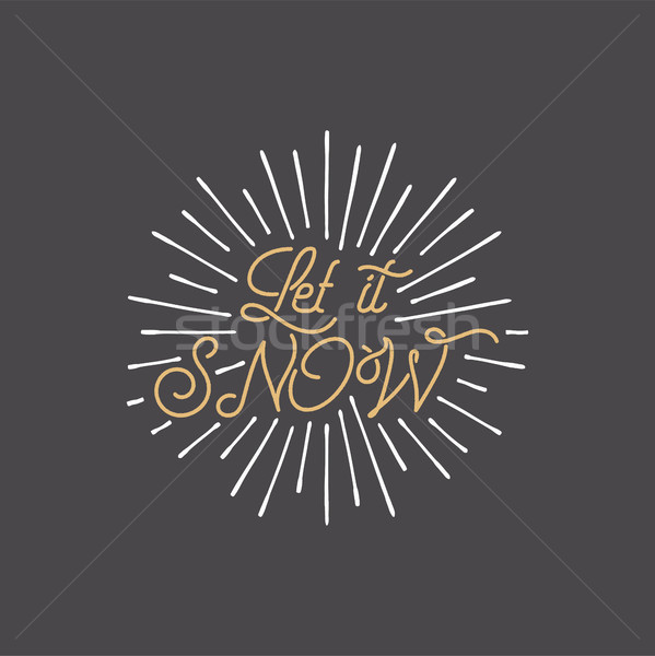 Merry Christmas lettering. Let it snow typography quote, wish with sunbursts. New Year lettering, sa Stock photo © JeksonGraphics