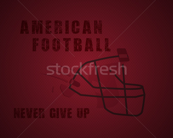 Modern unique american football poster with motivation quote - never give up - on dotted like ball r Stock photo © JeksonGraphics