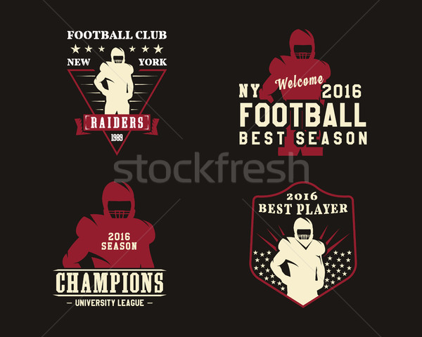 American football player, team badges, championship logos, labels, insignias in retro color style. G Stock photo © JeksonGraphics