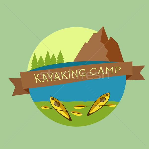 Kayaking camp logo. Expedition label and sticker. Unusual design. Summer outdoor adventures. Colorfu Stock photo © JeksonGraphics
