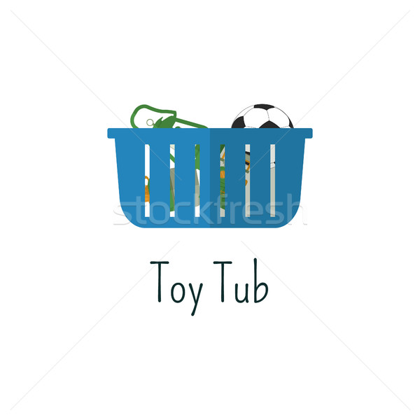 Camping toys tub flat icon. Toys bag isolated color pictogram. Vacation with family concept. Summer  Stock photo © JeksonGraphics