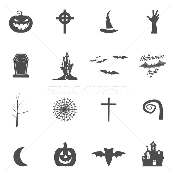 Stock photo: Set of halloween design creation tool kit. Icons isolate. Silhouette holiday design creator. Party s