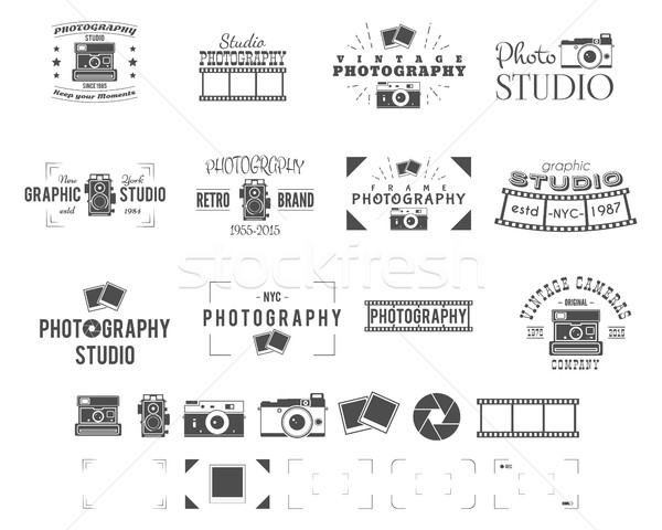 Photography logo templates set. Use for photo studio, old camera equipment store, shop etc. Photogra Stock photo © JeksonGraphics
