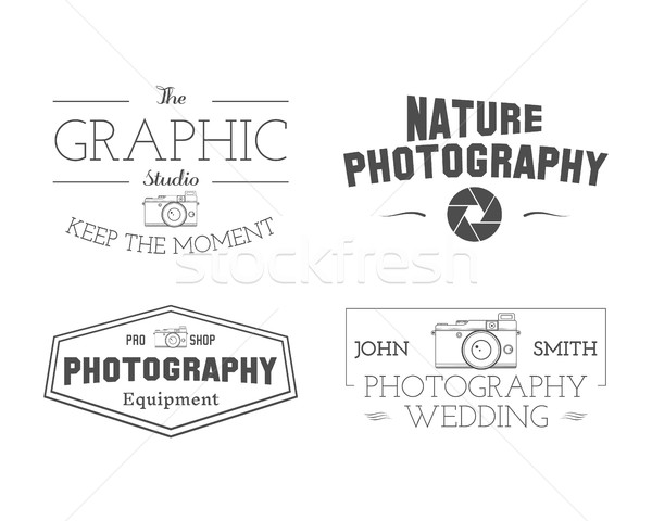 Photographer Badges and Labels in Vintage Style. Simple Line, unique design. Retro theme for photo s Stock photo © JeksonGraphics