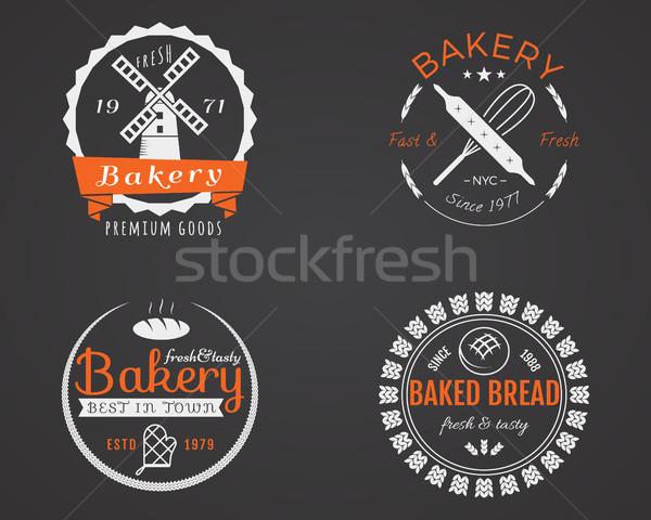 Stock fotó: Szett · pékség · címkék · ikonok · jelvények · terv