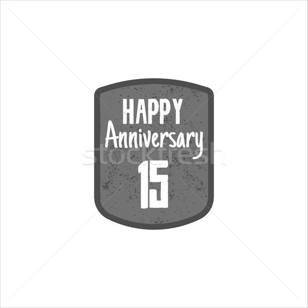 Happy 15th Anniversary badge, sign and emblem in retro style. Easy to edit use your number, text. Ve Stock photo © JeksonGraphics