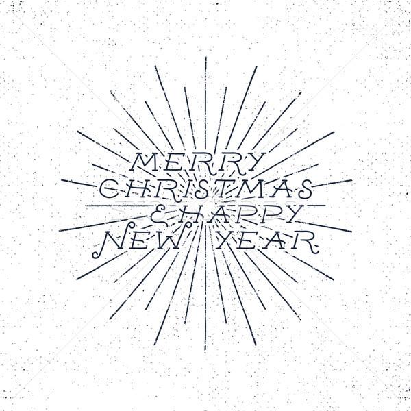 Vidám karácsony boldog új évet ünnep kívánság közmondás Stock fotó © JeksonGraphics