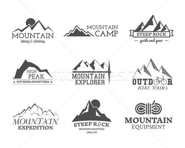 Set of monochrome outdoor adventure explorer camp badge, logo and label templates. Travel, hiking, c Stock photo © JeksonGraphics
