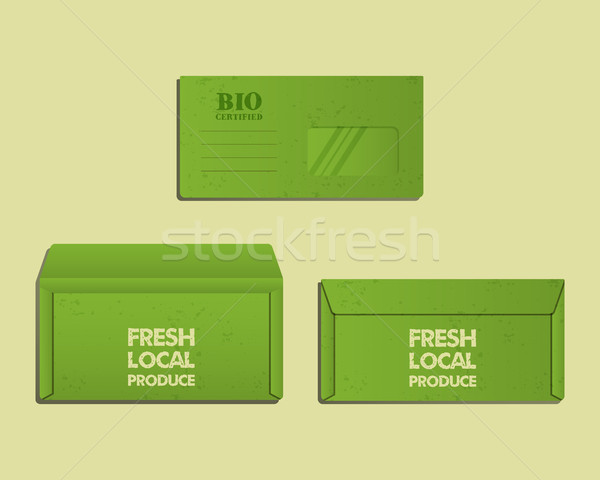 Brand identity template. Envelope. Front, back sides and open. With organic, farm fresh, eco keyword Stock photo © JeksonGraphics