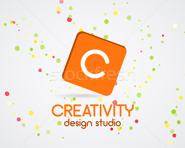 Vector abstract logo design. Creativity studio. Creative logo icon. Abstract logotype template. Roun Stock photo © JeksonGraphics