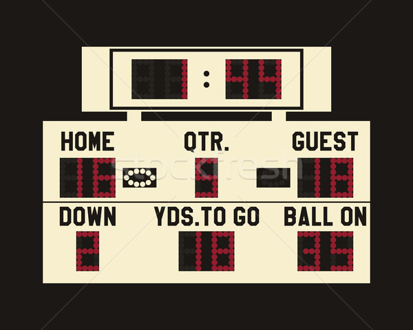 LED american football scoreboard with fully editable data, timer and space for user info. Usa sports Stock photo © JeksonGraphics