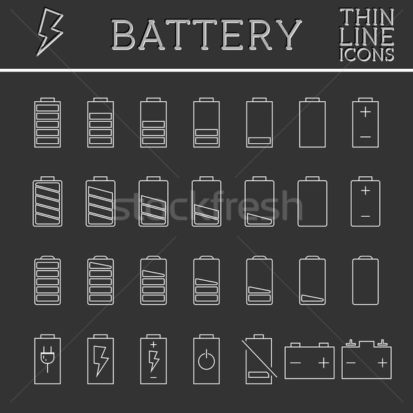 Set of battery charge level indicators. Trendy thin line, outline design. Can be used as buttons, el Stock photo © JeksonGraphics