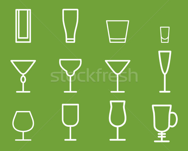 Beverage vector thin line symbol icon. Cocktails. Party outline elements isolated on green backgroun Stock photo © JeksonGraphics