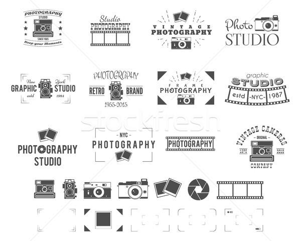 Photography logo templates set. Use for photo studio, old camera equipment store, shop etc. Photogra Stock photo © JeksonGraphics