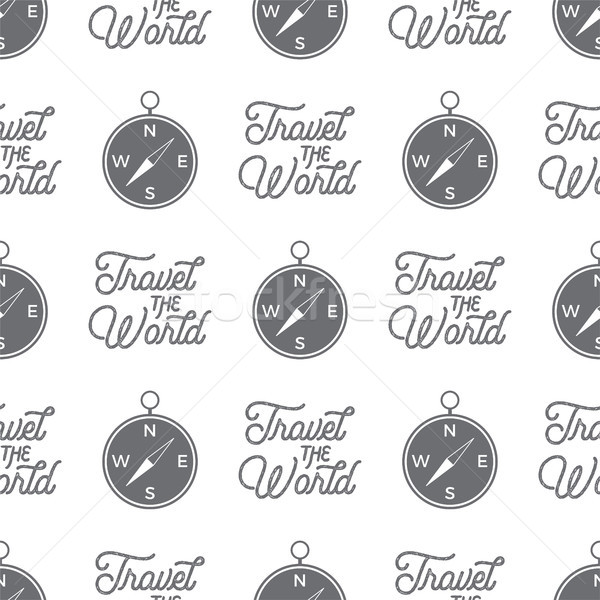 Travel compass seamless background. Travel the World wallpaper pattern design with adventure symbols Stock photo © JeksonGraphics
