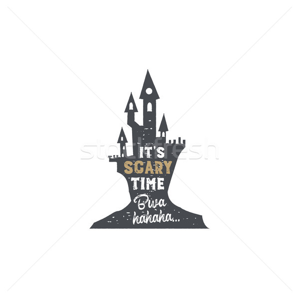 Halloween badge. Vintage hand drawn logo design. Monochrome style. Typography elements and Halloween Stock photo © JeksonGraphics
