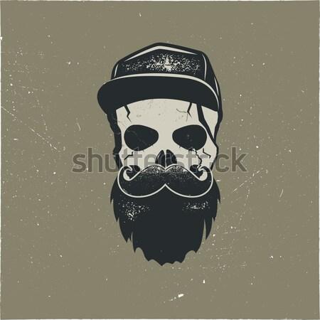 Schedel karakter bloed cap vintage Stockfoto © JeksonGraphics