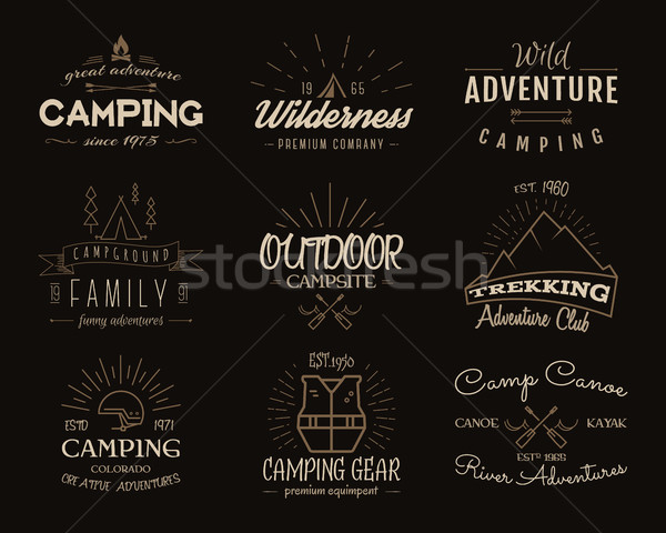 Set of retro badges and label logo graphics. Camping emblems and travel insignia. Vintage colors, ol Stock photo © JeksonGraphics