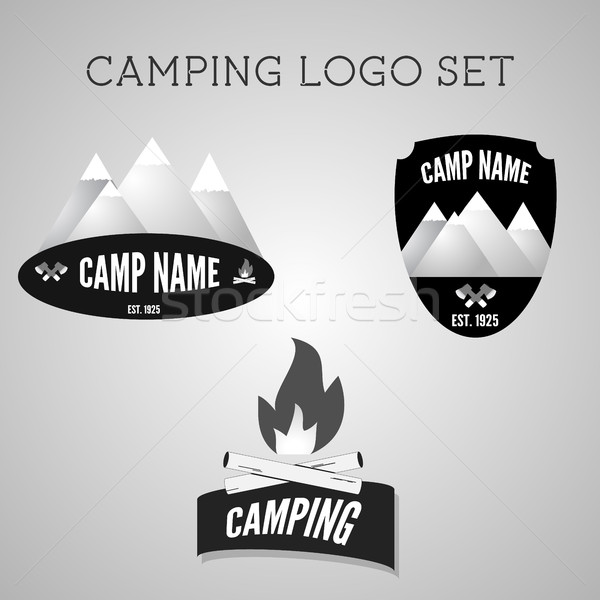 Set of silver outdoor adventure badges and campsite logo emblems. Summer 2015 banner. Stock photo © JeksonGraphics