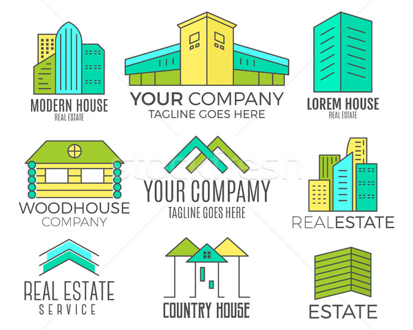 Set of house logo designs, real estate icon suitable for info graphics, websites and print media. ,  Stock photo © JeksonGraphics