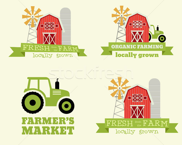 Set of farmer's market logo design template. Organic and natural products. Eco theme. Vector  Stock photo © JeksonGraphics