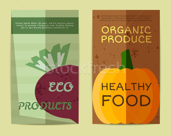 Stock photo: Set of Stylish Farm Fresh flyer, template or brochure design with beet and pumpkin. Mock up design.