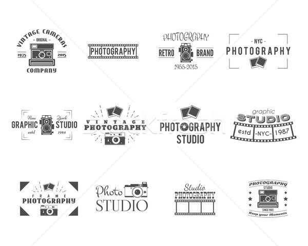 Vintage Photography Badges, Labels templates. Monochrome design with stylish cameras and elements. R Stock photo © JeksonGraphics