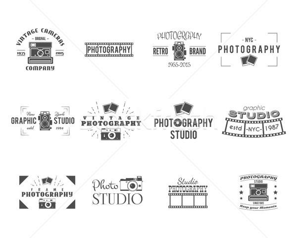 ヴィンテージ 写真 バッジ ラベル テンプレート モノクロ ストックフォト © JeksonGraphics