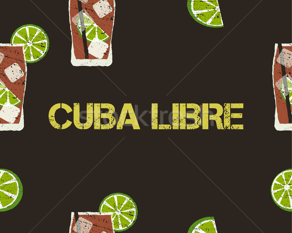Seamless Pattern of Cuba Libre cocktail with lime and sign. Dark background. Vector Stock photo © JeksonGraphics