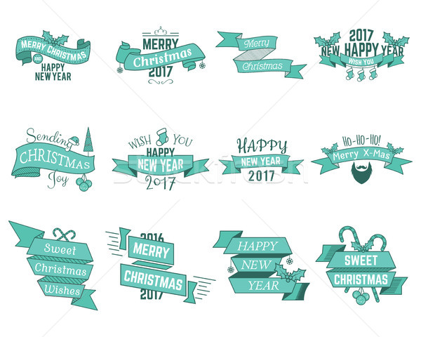 Happy Christmas wishes collection with ribbons and holiday symbols, elements - santa beard, sweets,  Stock photo © JeksonGraphics