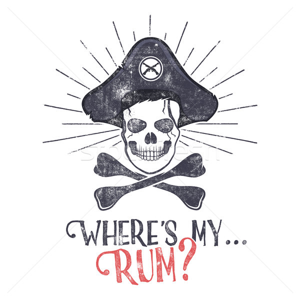 Grunge and textured vintage label, retro tee design or badge with pirate skull, sun bursts and 'Wher Stock photo © JeksonGraphics